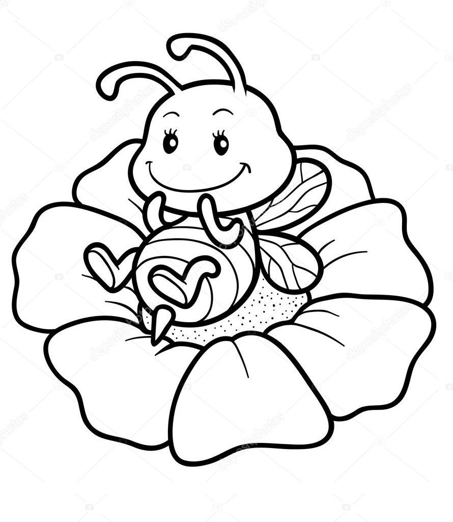 Раскраска пчела на цветке