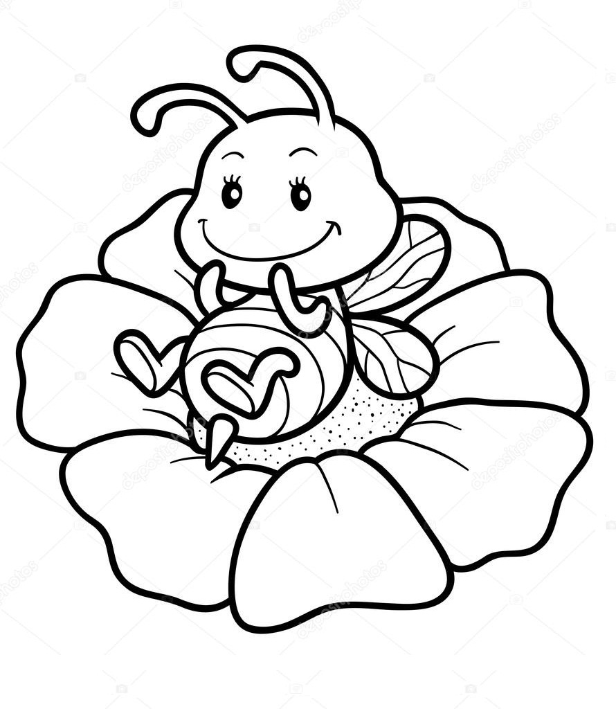 Раскраска пчела на цветке 2