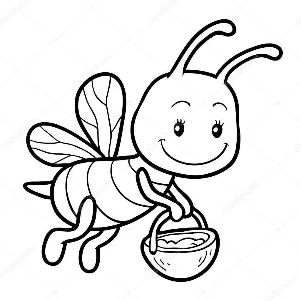 Раскраска пчела с горшком меда