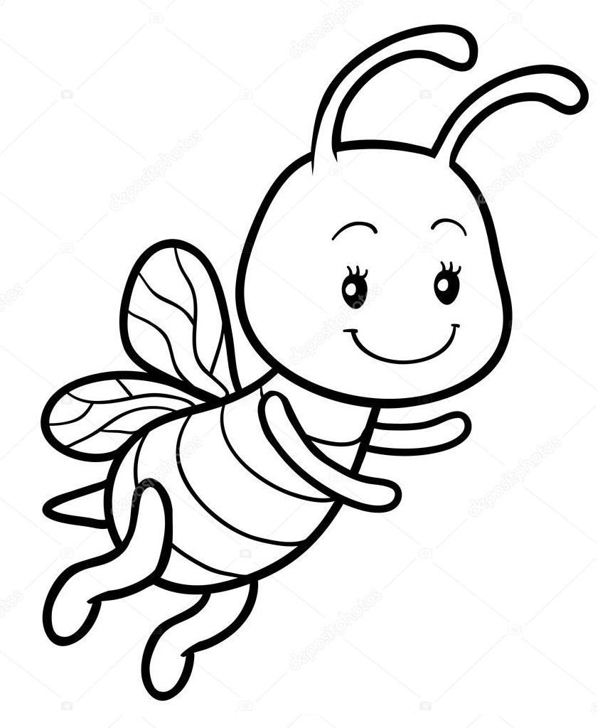 Раскраска счастливая пчела
