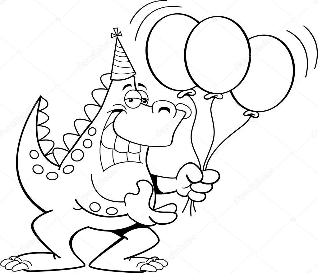 Раскраска день рождения динозавра