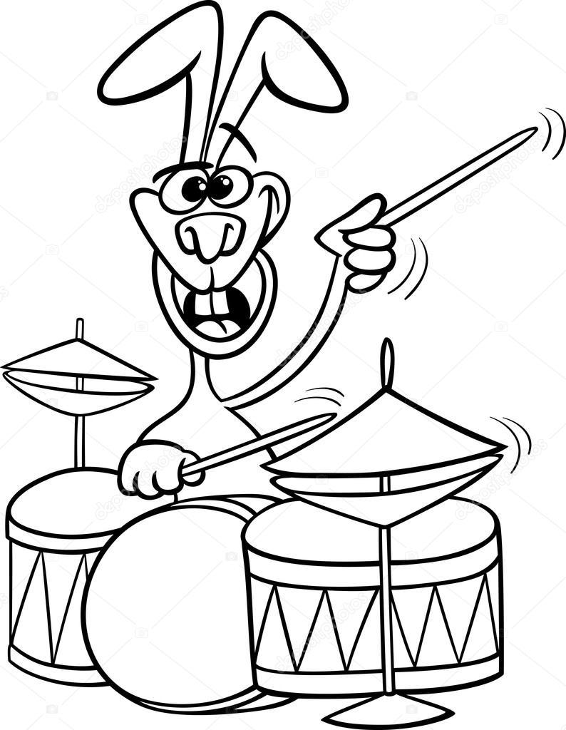 Раскраска кролик с барабаном