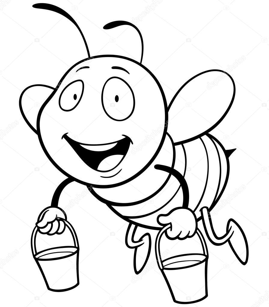 Раскраска пчела с ведром