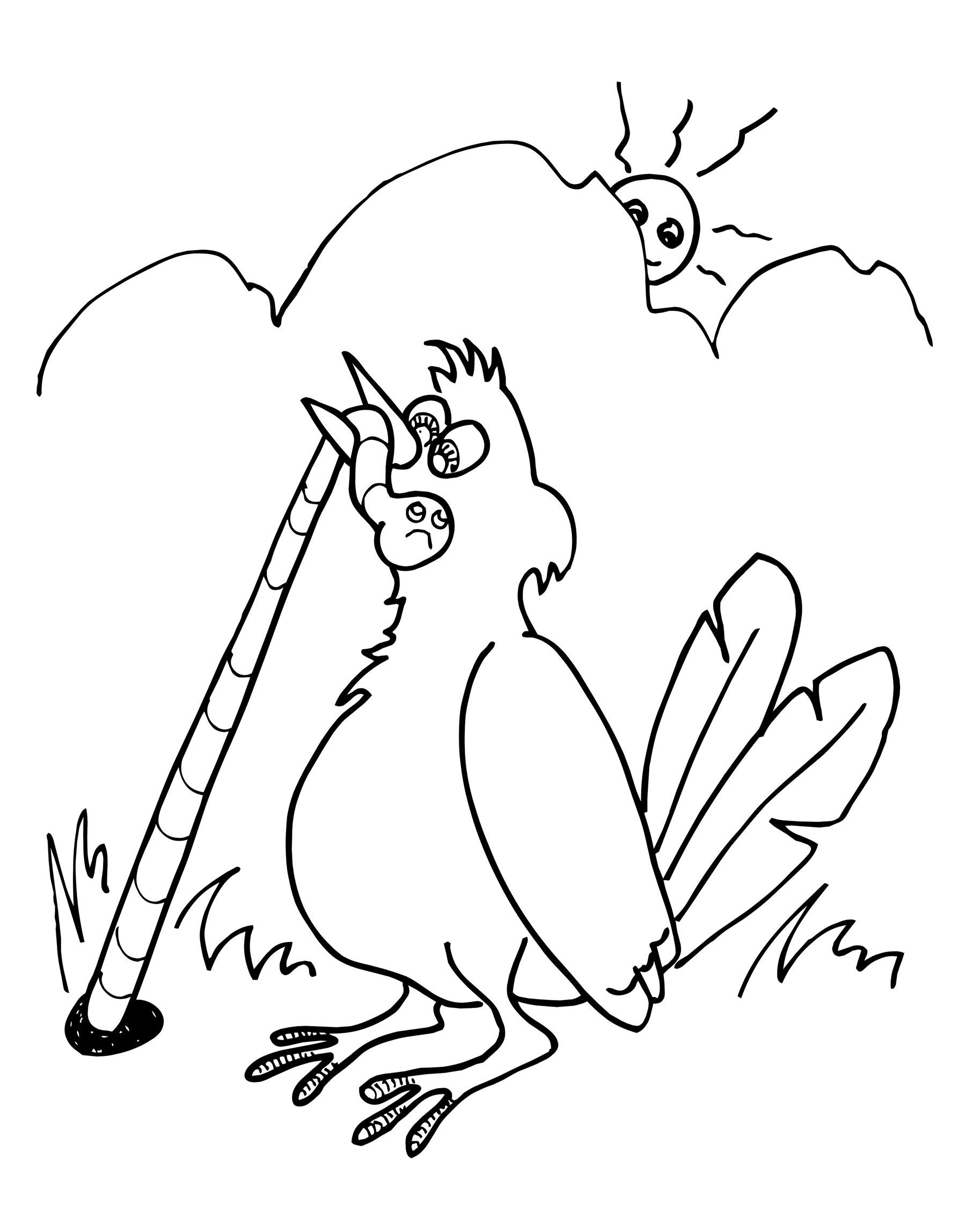 Раскраска ловящий птицу червь 2