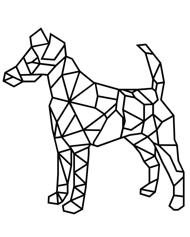Раскраска бумажная собака