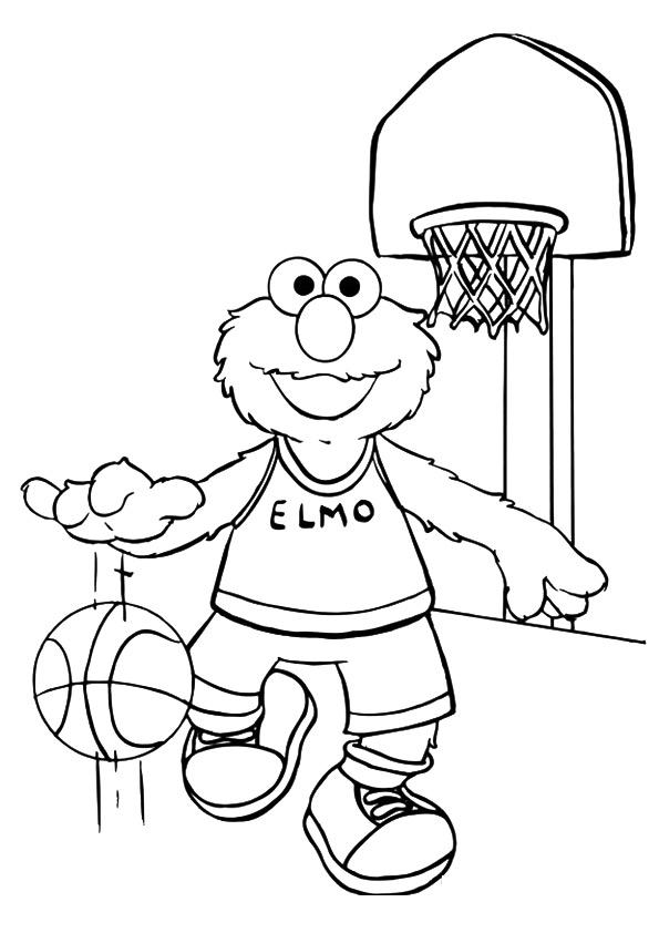Раскраска Элмо играет в баскетбол