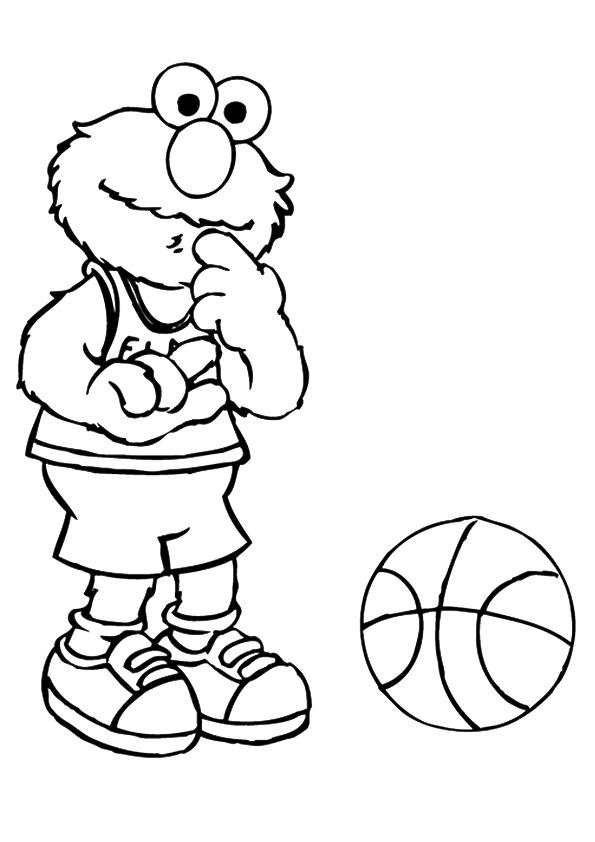 Раскраска Элмо с баскетболом