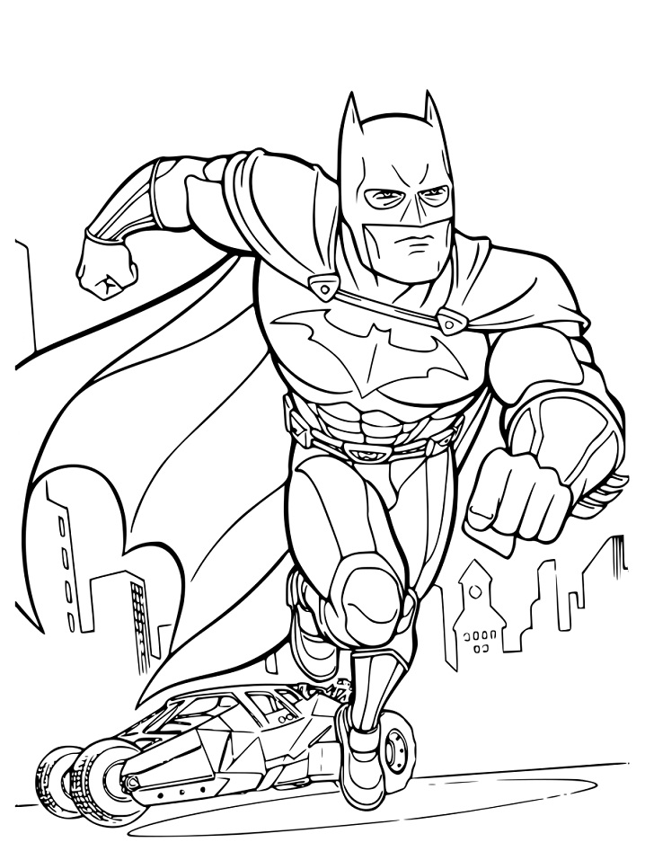 Раскраска бэтмен и бэтмобиль 2