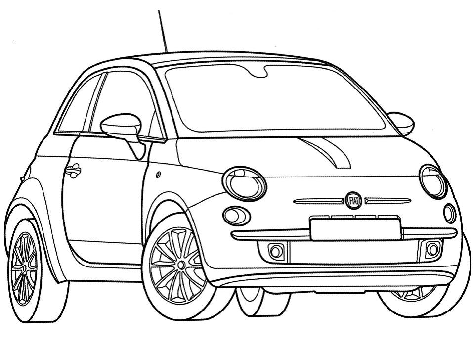 Раскраска Автомобиль Fiat 500