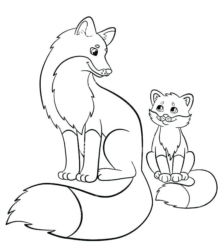 Раскраска Mама и малышка лиса