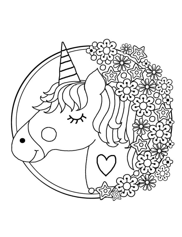 Раскраска Единорог и цветок