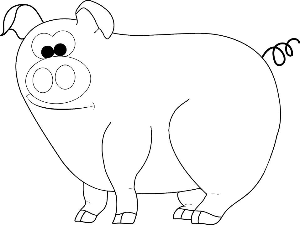 Раскраска Забавная свинка 1