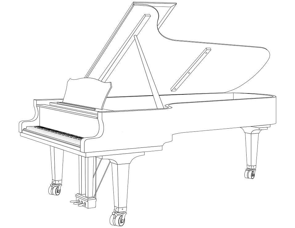 Раскраска Рояль пианино