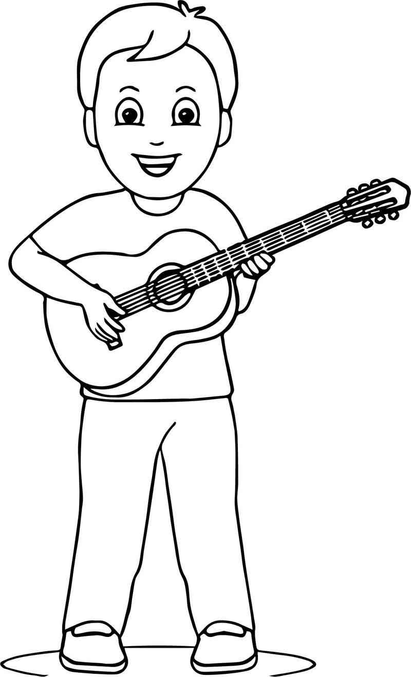 Раскраска ребенок с гитарой