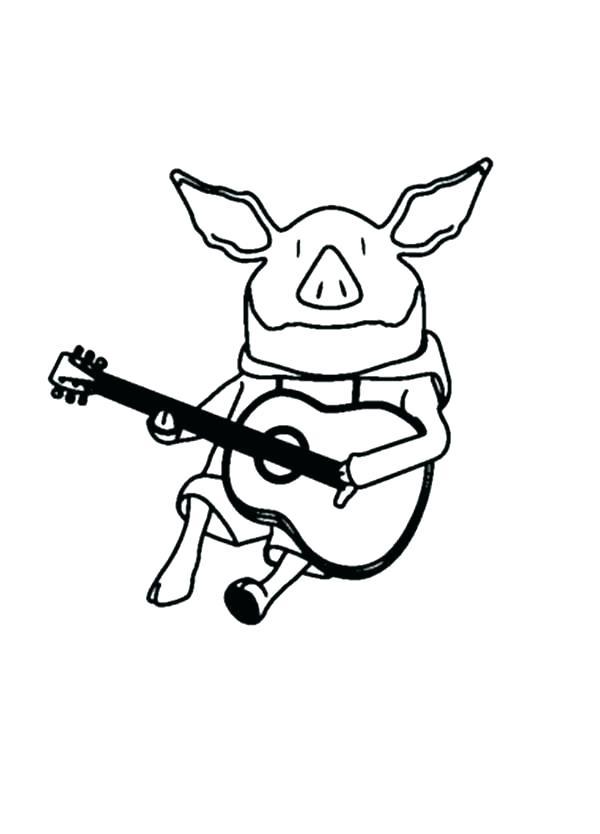 Раскраска свинья играет на гитаре