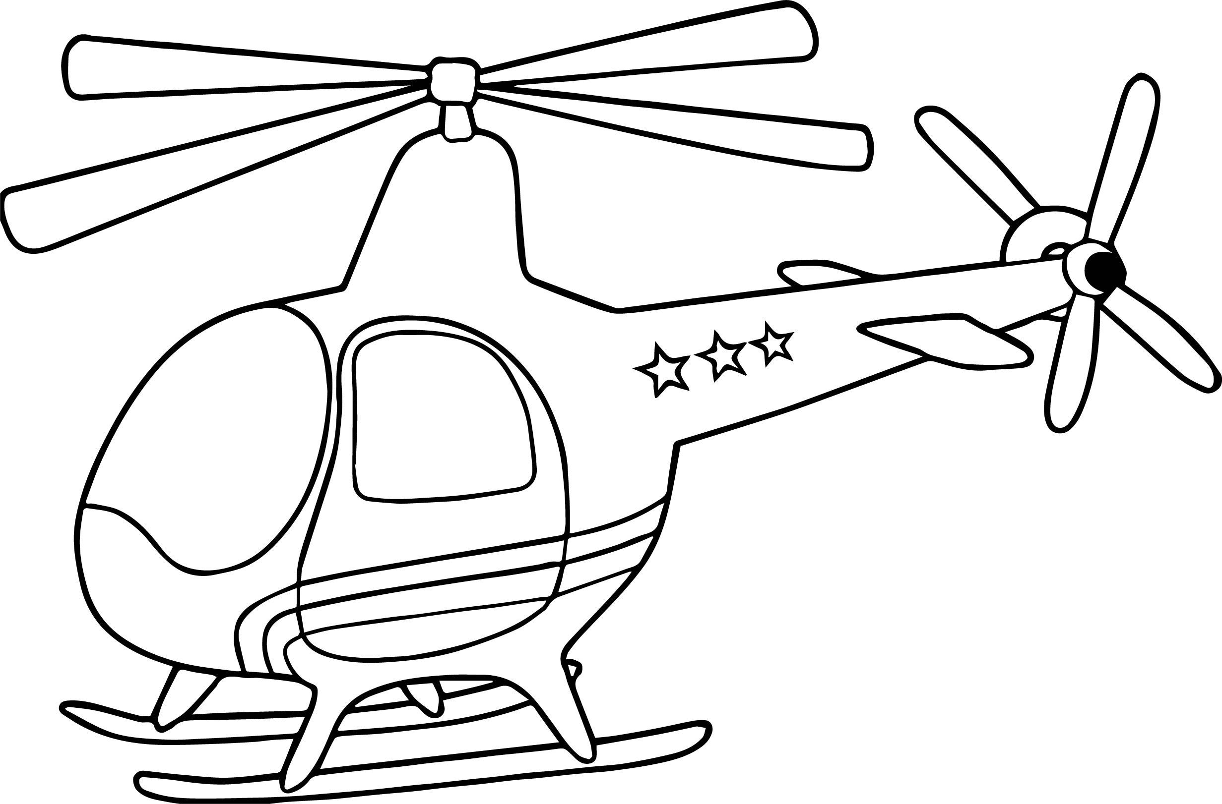 Раскраска трехзвездочный вертолет