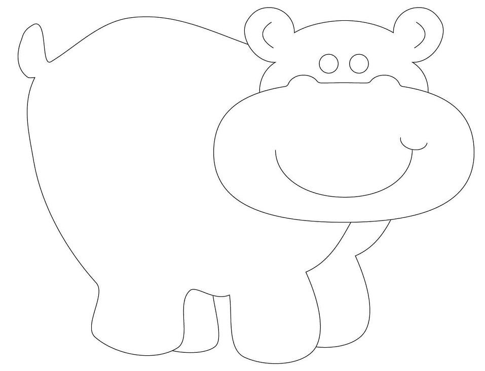 Раскраска Контур бегемота