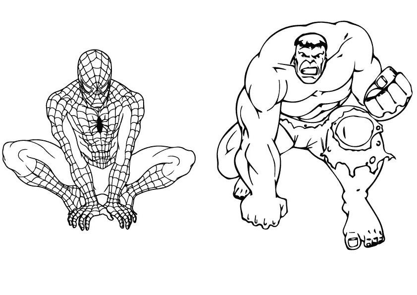 Раскраска Халк и человек-паук 2