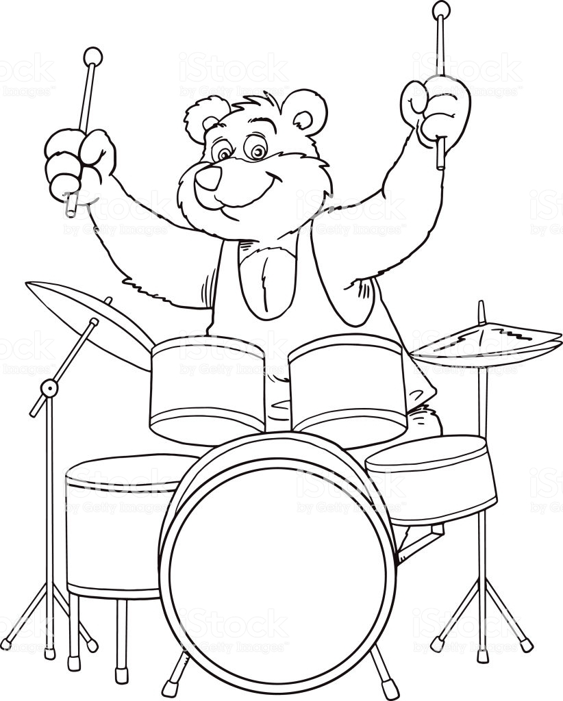 Раскраска медведь с барабаном