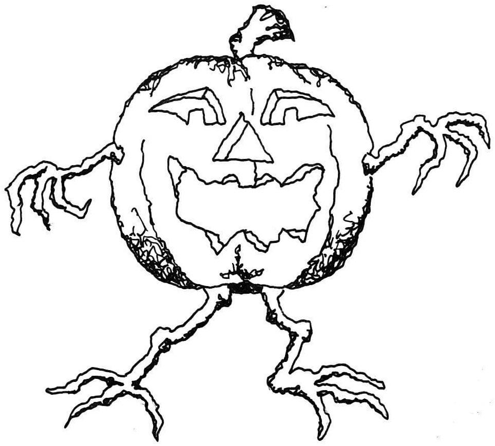 Раскраска Страшный фонарик Джека