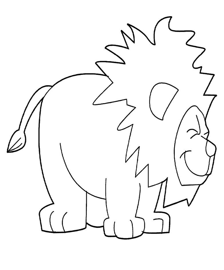 Раскраска Радостный лев