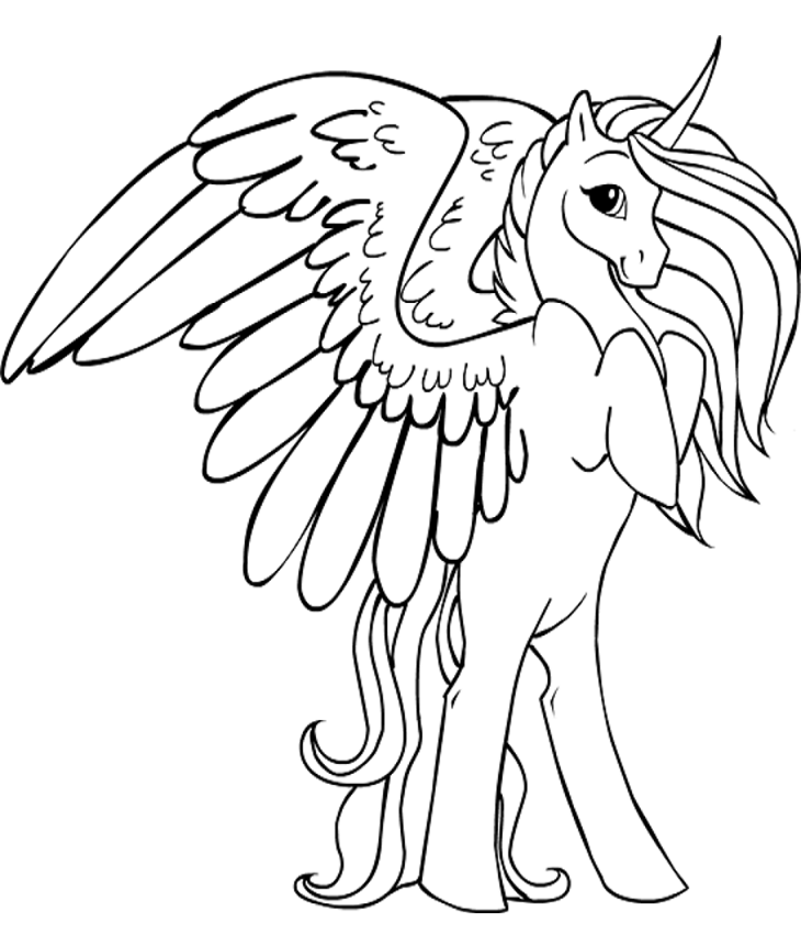 Раскраска Красивый Крылатый Единорог