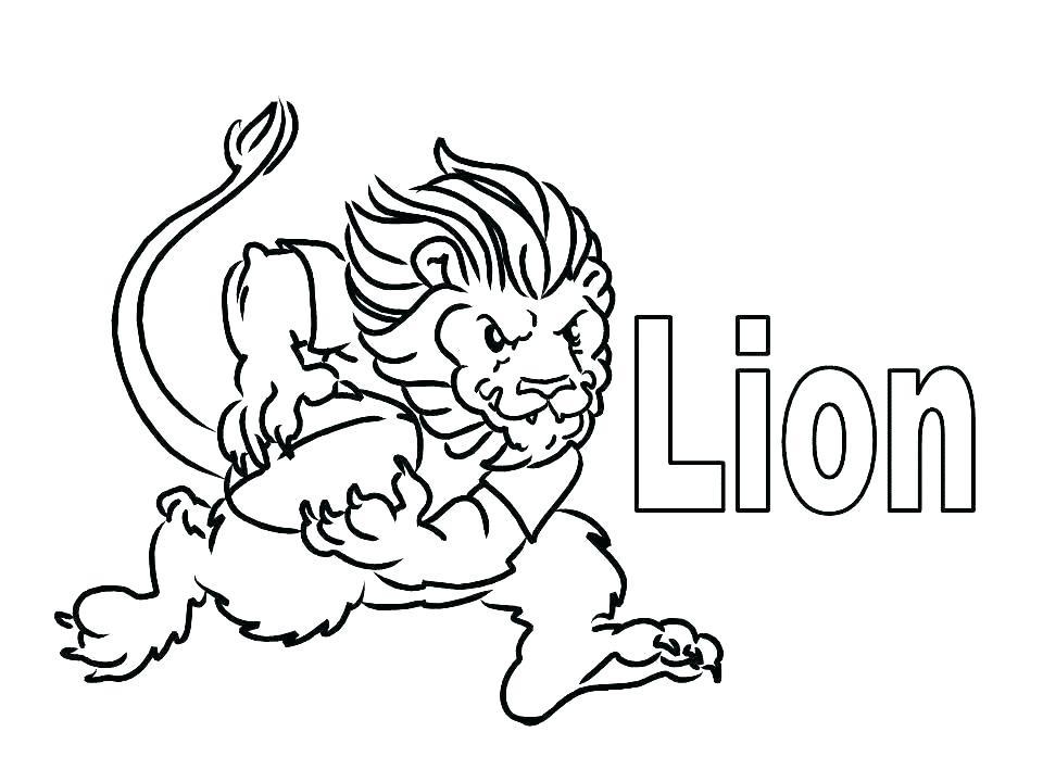 Раскраска лев играет в футбол