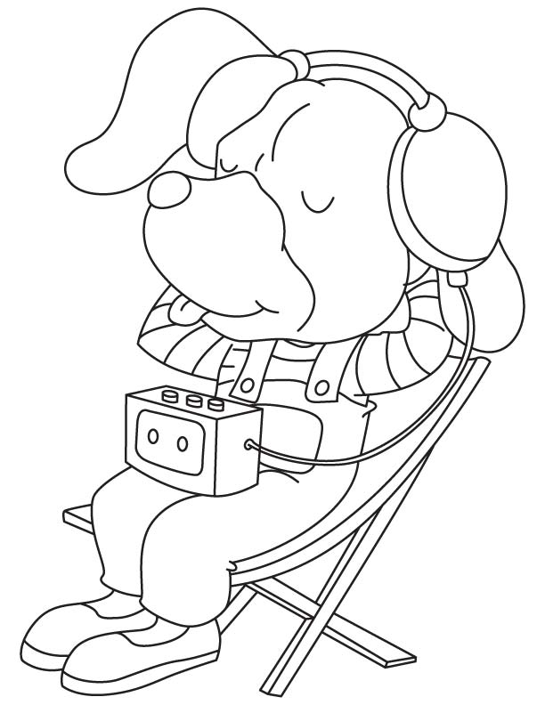 Раскраска собака слушает музыку