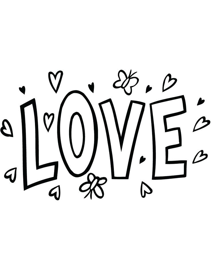 """Раскраска Надпись """"Любовь"""""""
