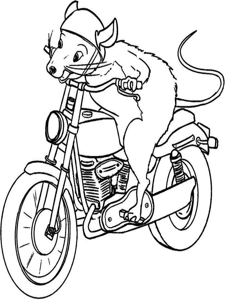 Раскраска Мышь за рулем мотоцикла