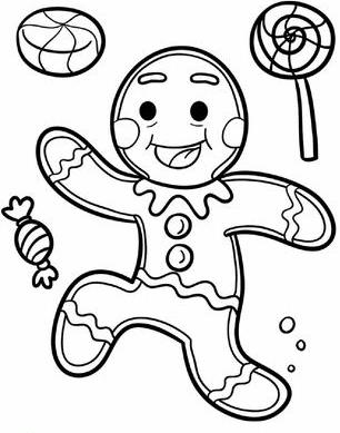 Раскраска Пряничный человечек с конфеты