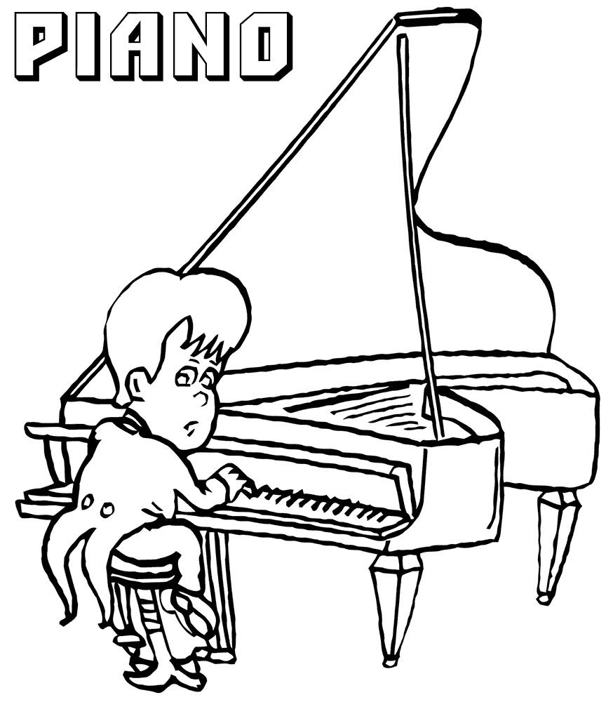 Раскраска пианист играет на пианино