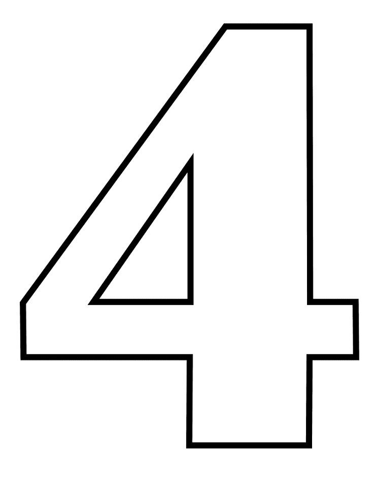Раскраска число 4