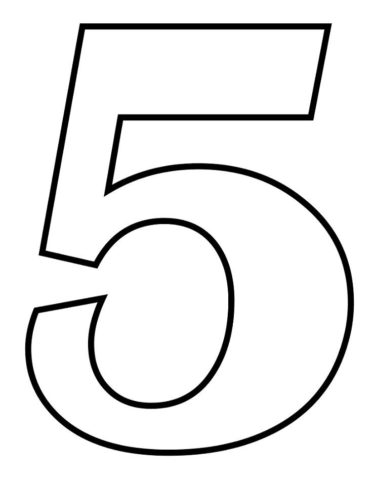 Раскраска число 5