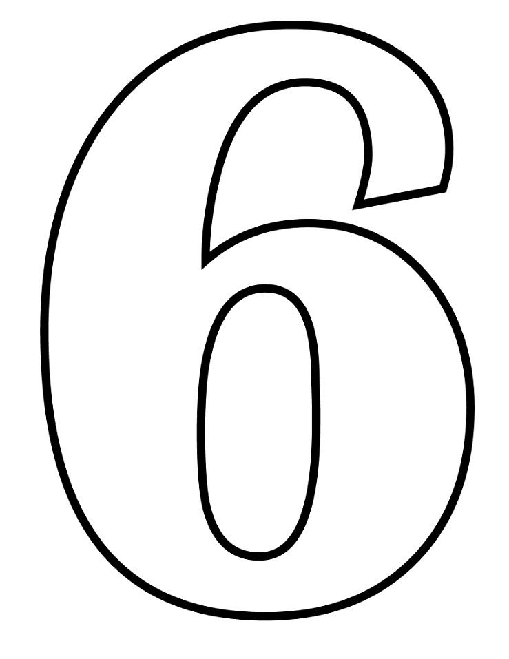 Раскраска число 6