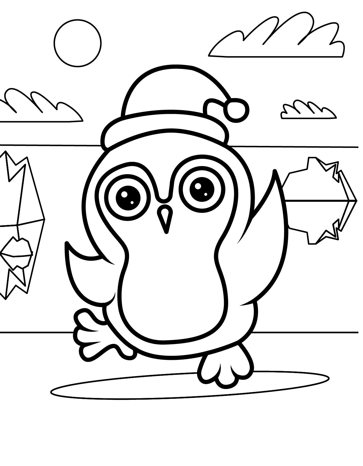Раскраска Рождественский пингвин