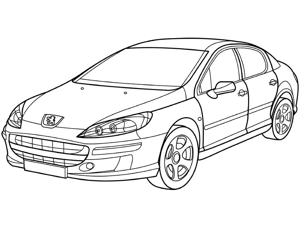 Раскраска Автомобиль Peugeot 407