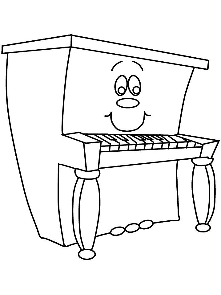 Раскраска мультфильм пианино