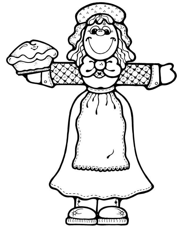 Раскраска Девушка-пилигрим