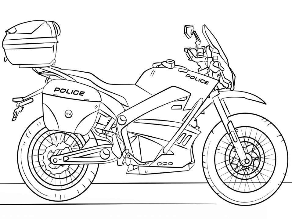 Раскраска Полицейский мотоцикл