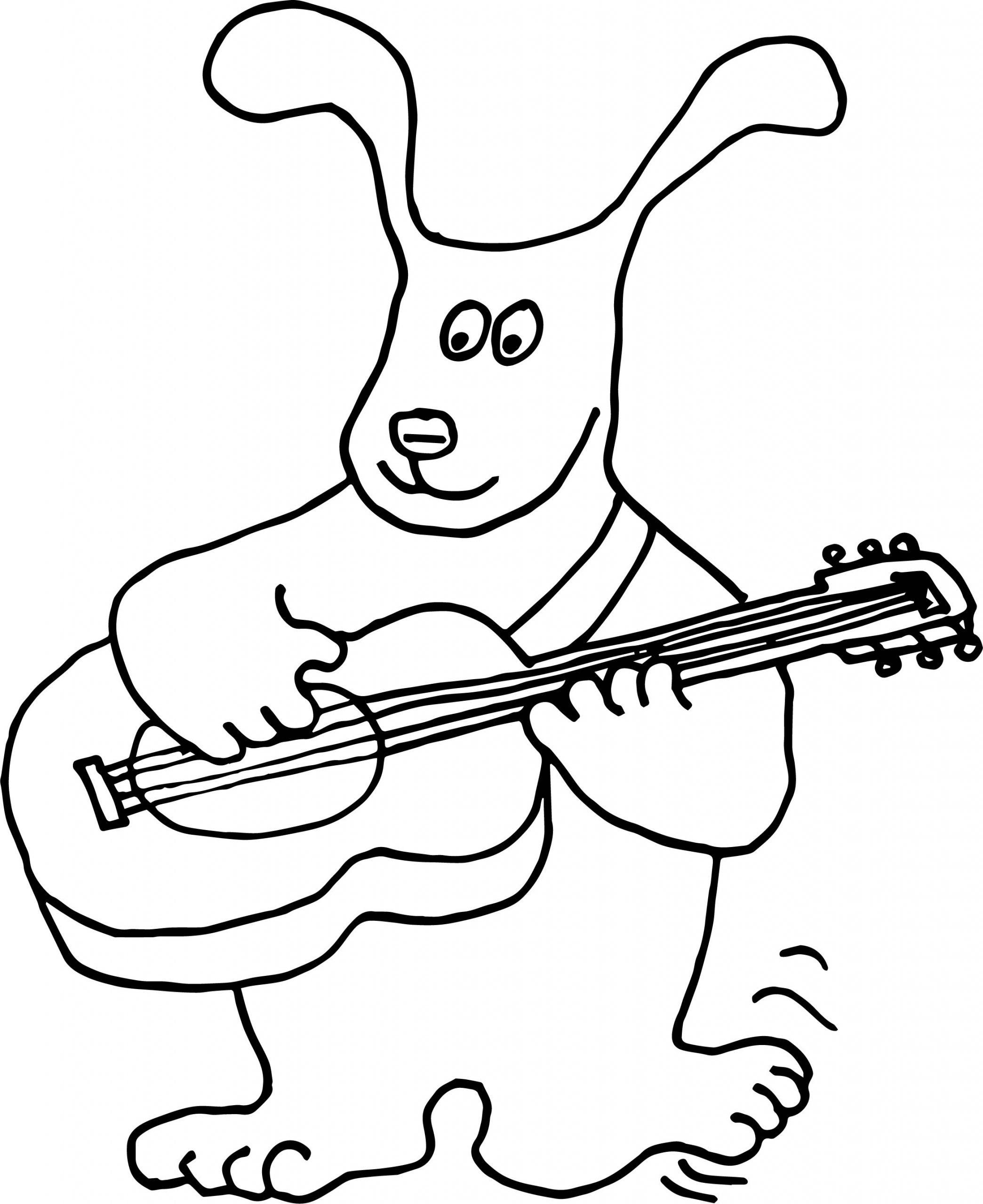 Раскраска кролик играет на гитаре