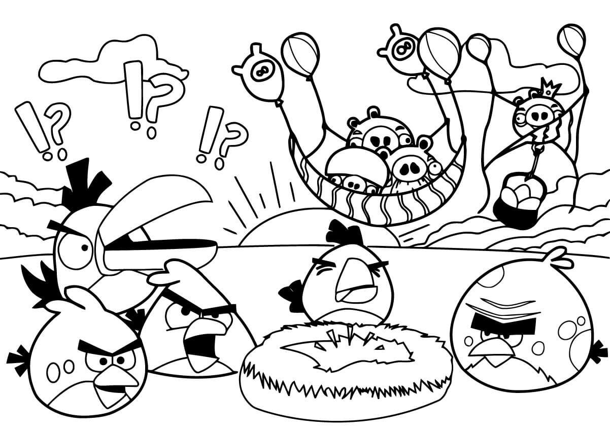 Раскраска Раскраски Энгри Бёрдс (Angry Birds)