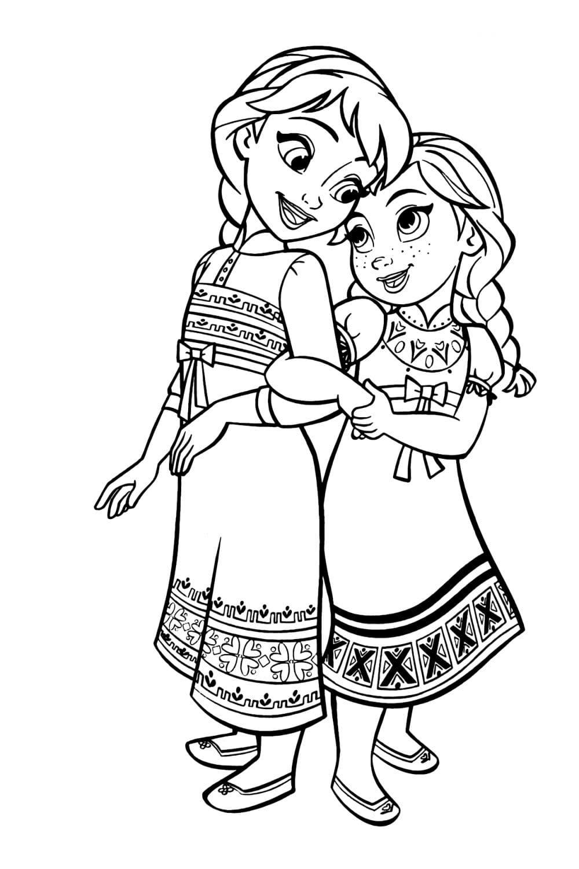 Раскраска Анна и Эльза в детстве