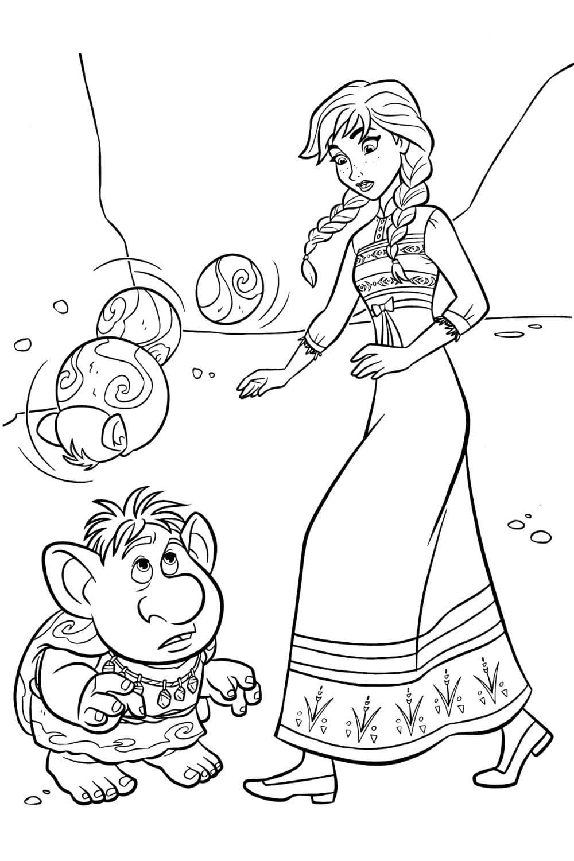 Раскраска Анна и тролли