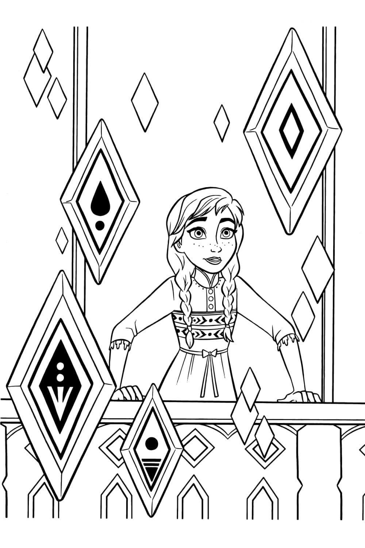 Раскраска Анна и кристаллы стихий