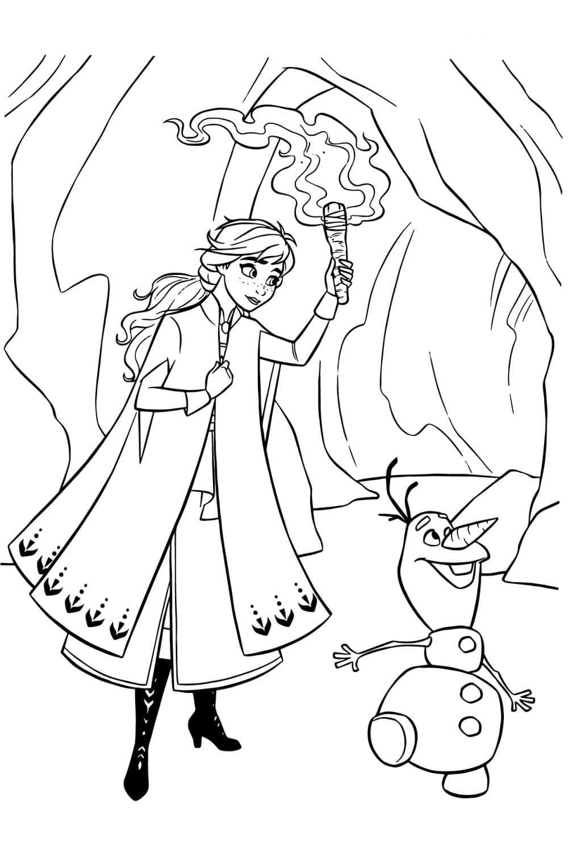 Раскраска Анна и Олаф в пещере