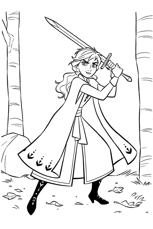 Раскраска Анна с мечом