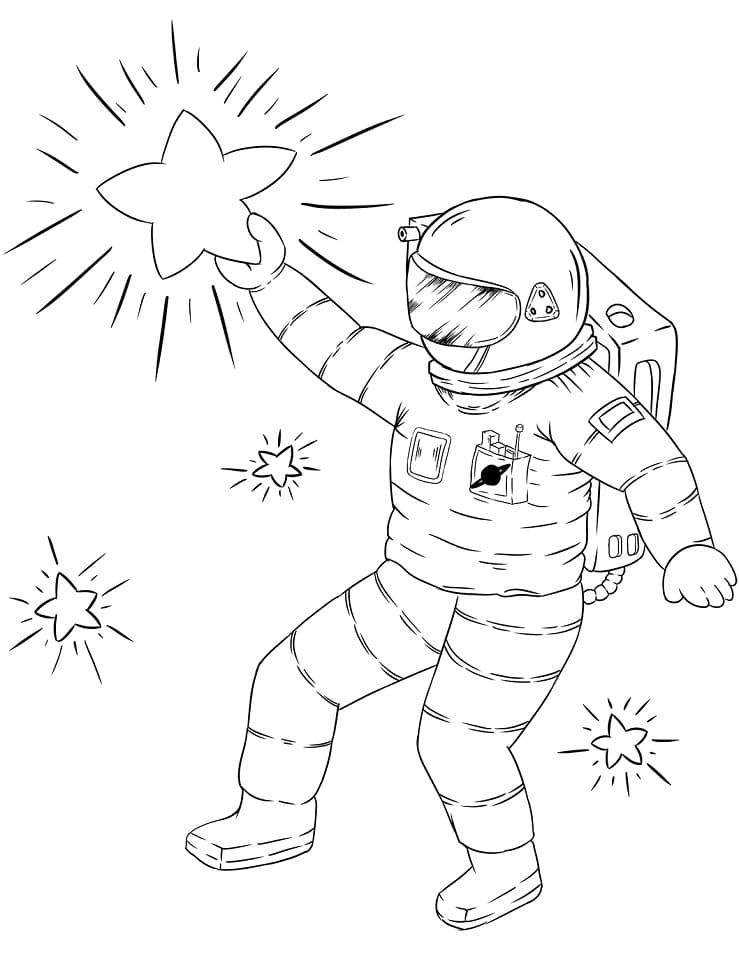 Раскраска Астронавт хватает звезду
