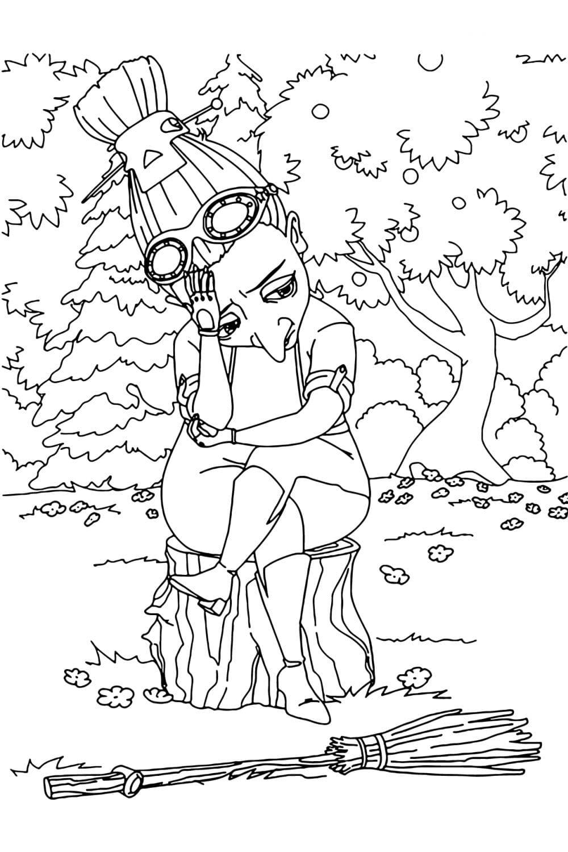 Раскраска Баба-Яга из мультсериала Царевны