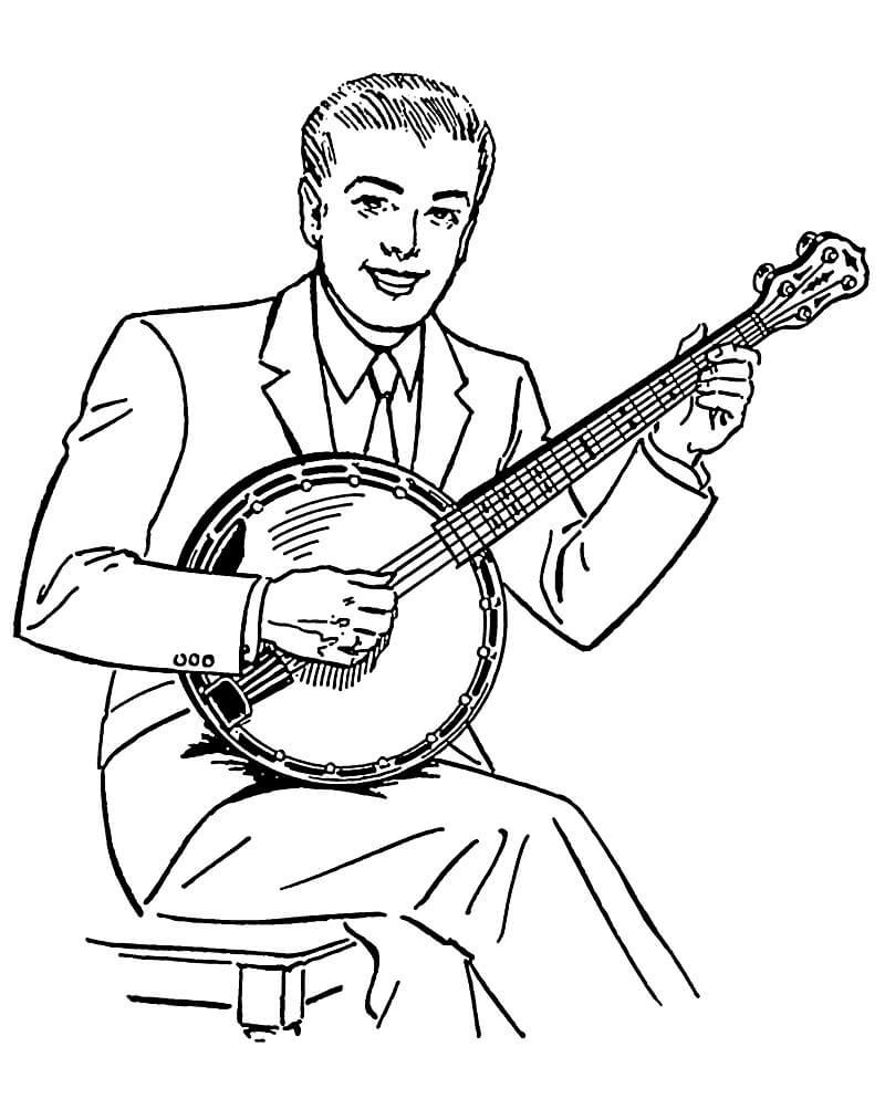 Раскраска банджо игрок 1